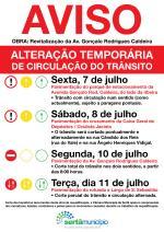 Alterações temporárias na circulação do trânsito